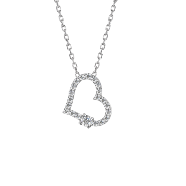 Classic Diamond heart Necklace White Gold