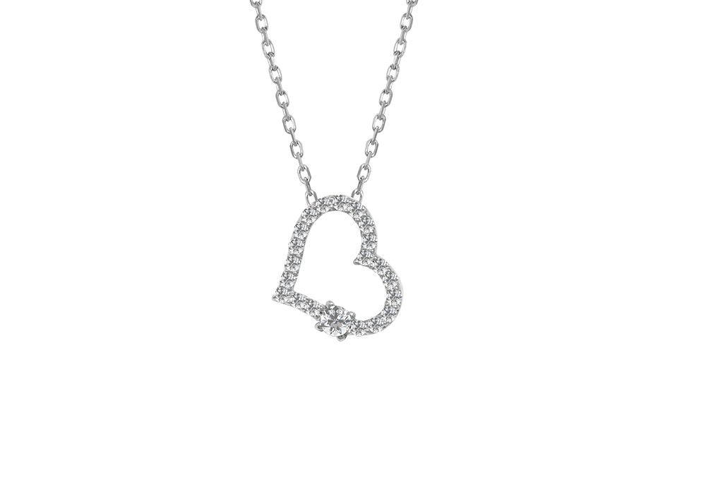 Classic Diamond heart Necklace White Gold