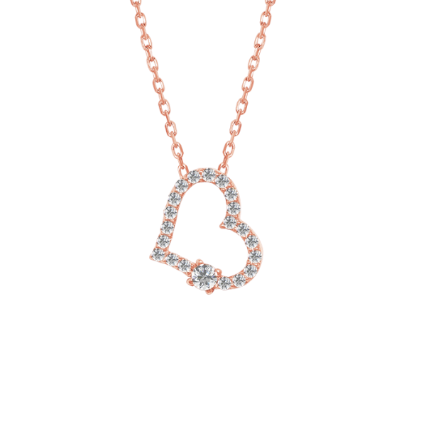 Classic Diamond heart Necklace Rose Gold