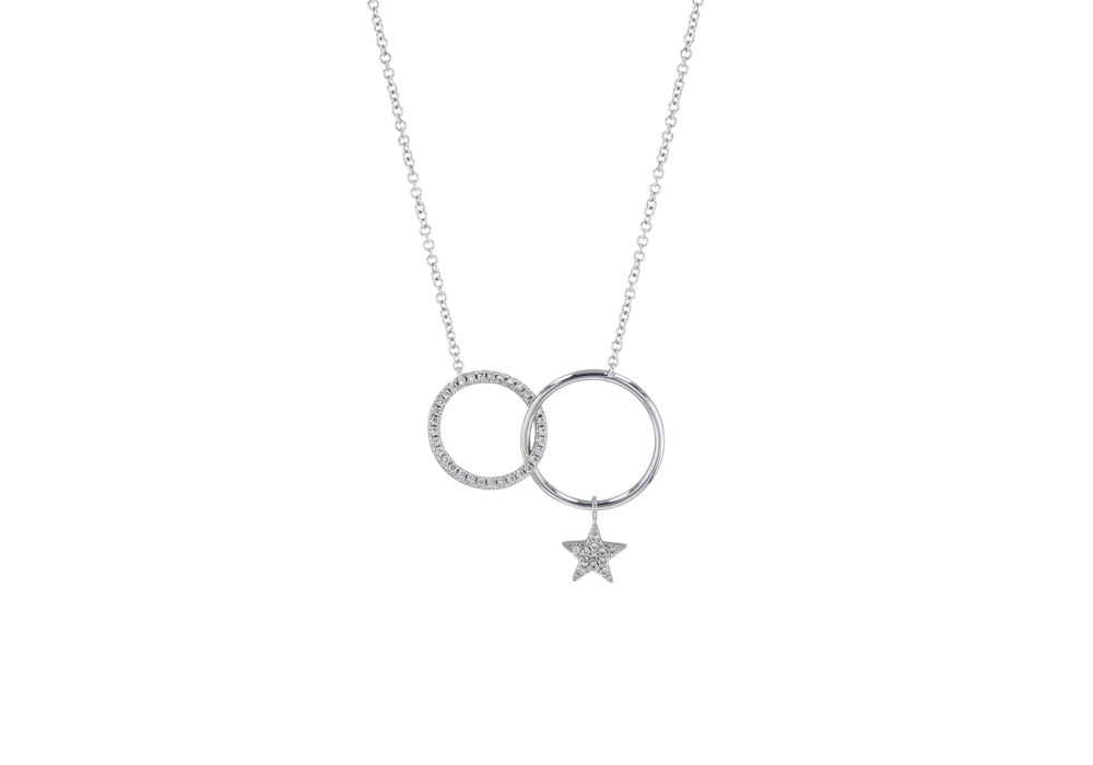Star in Circle Diamond Necklace