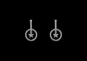Star in Circle Diamond Earring