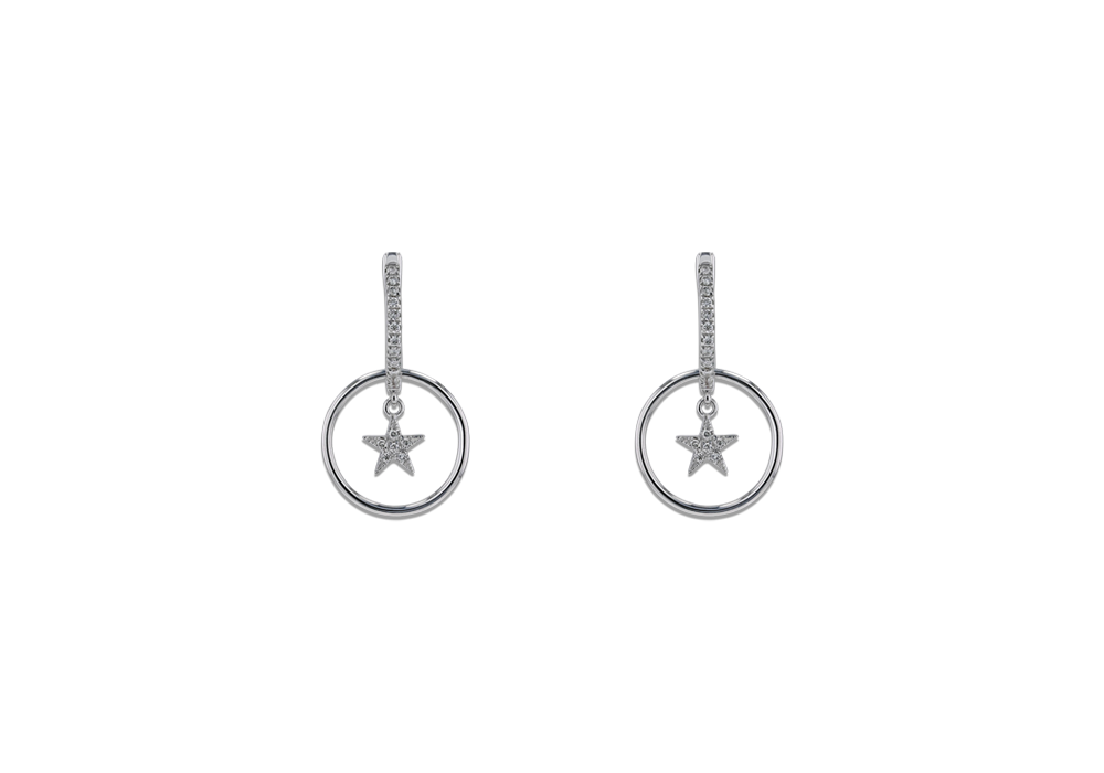 Star in Circle Diamond Earring