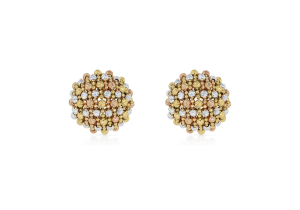 Tri Color Gold Beads Earring in 18K Gold