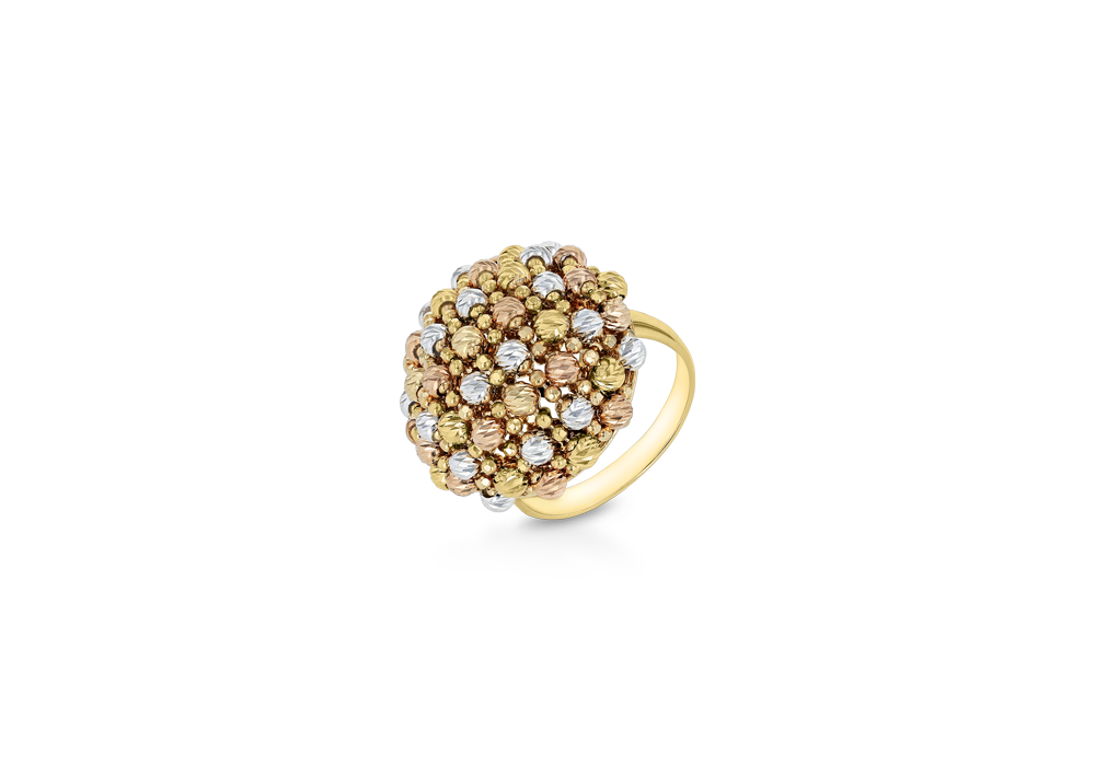 Tri Color Gold Beads Ring in 18K Gold
