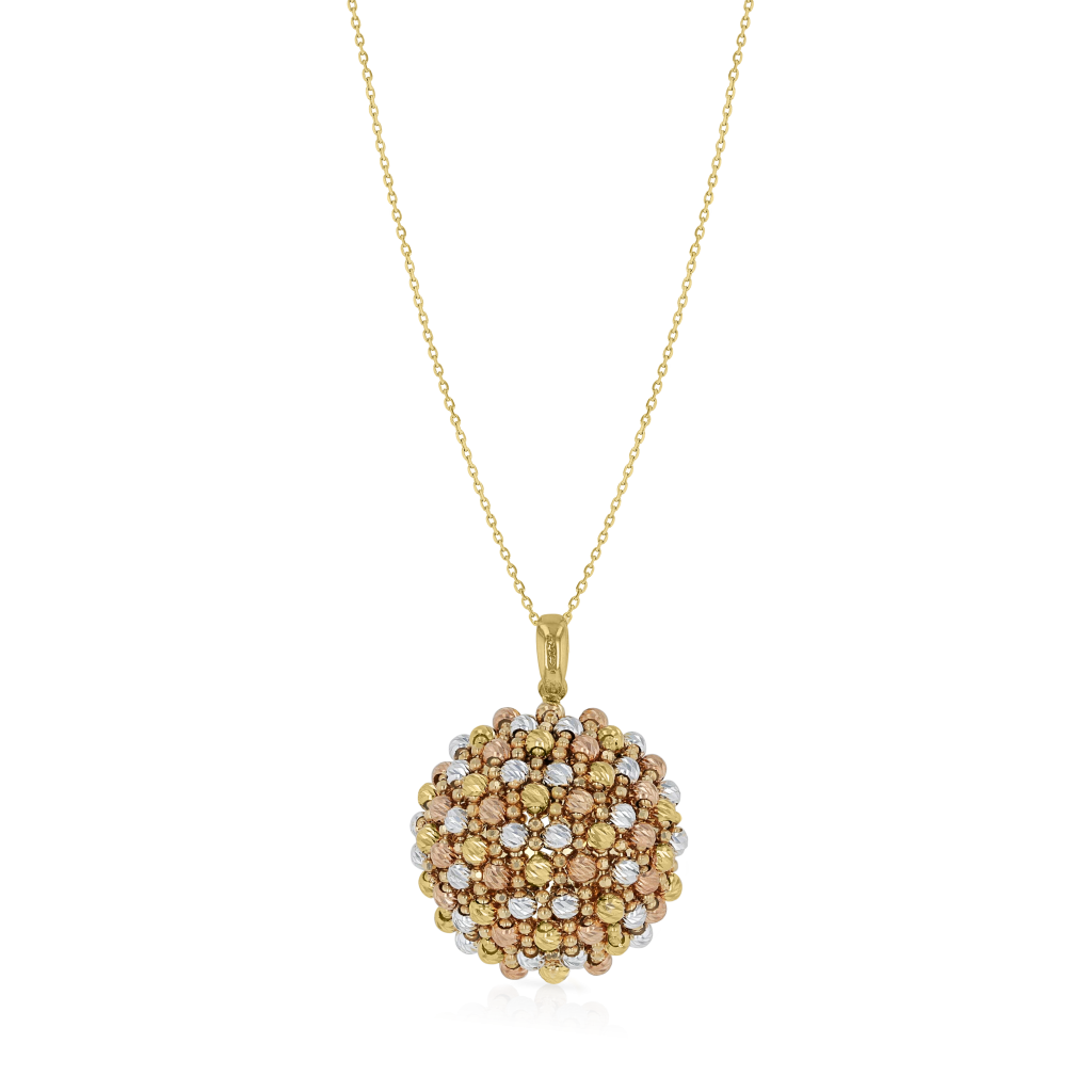 Tri Color Gold Beads Pendant Chain in 18K Gold