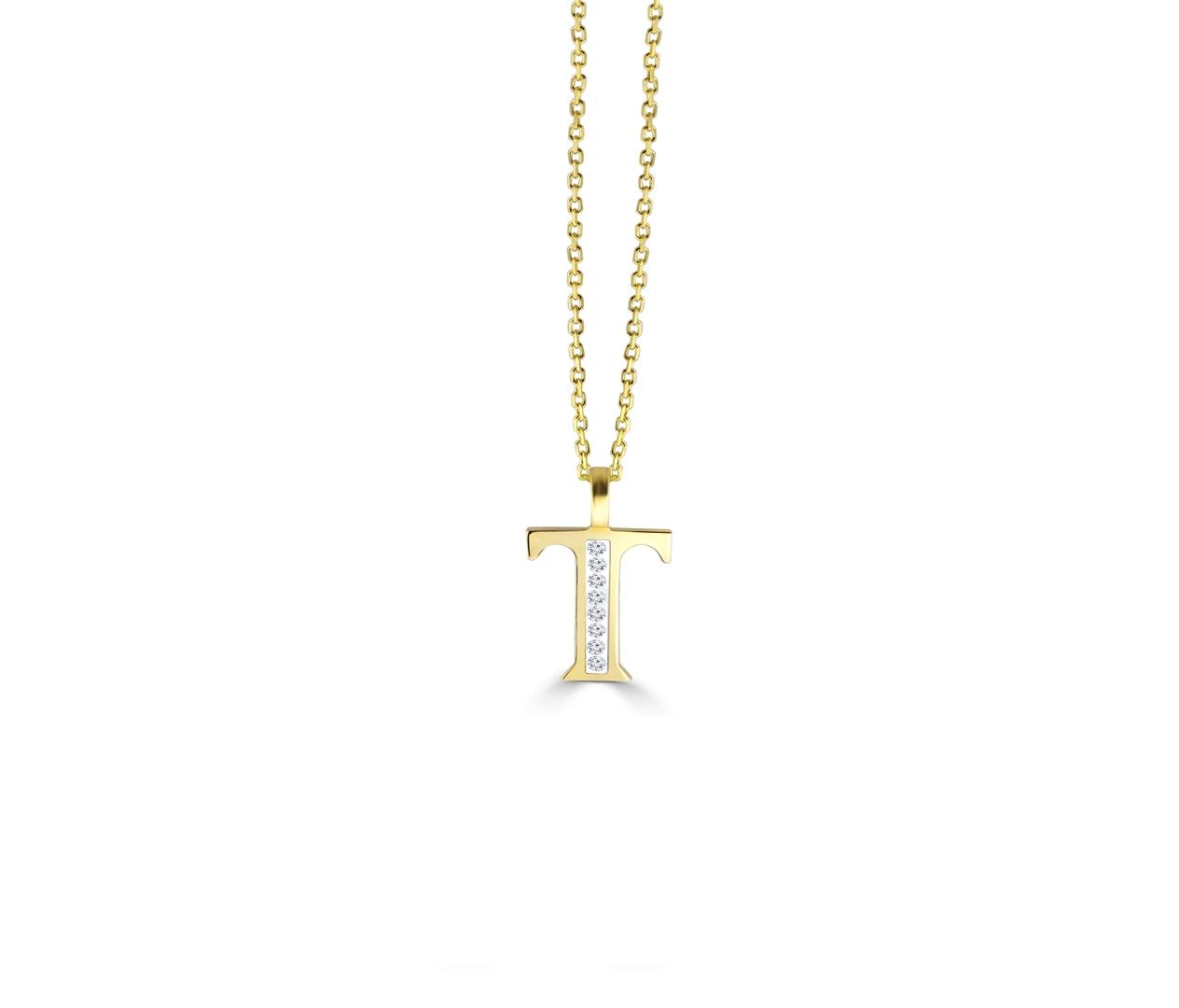 T' Alphabet Pendant chain with Diamonds