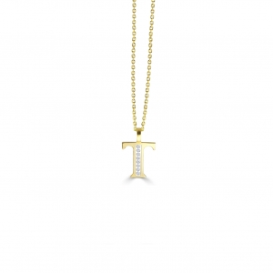 T' Alphabet Pendant chain with Diamonds