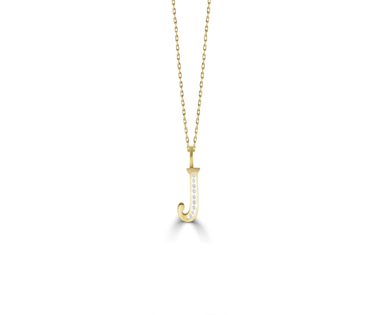 J' Alphabet Pendant chain with Diamonds
