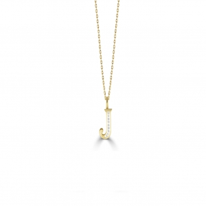 J' Alphabet Pendant chain with Diamonds