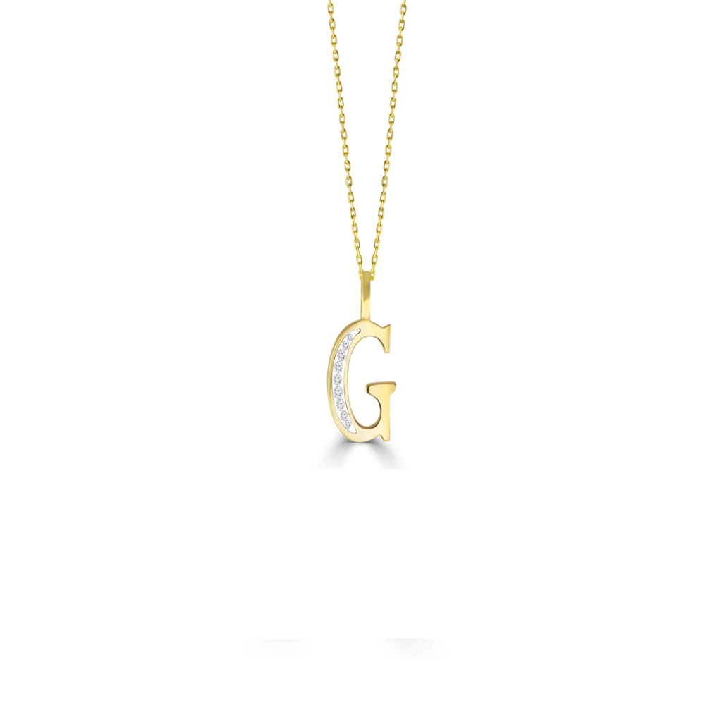 G' Alphabet Pendant chain with Diamonds