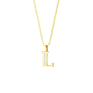 L' Alphabet Pendant chain with Diamonds