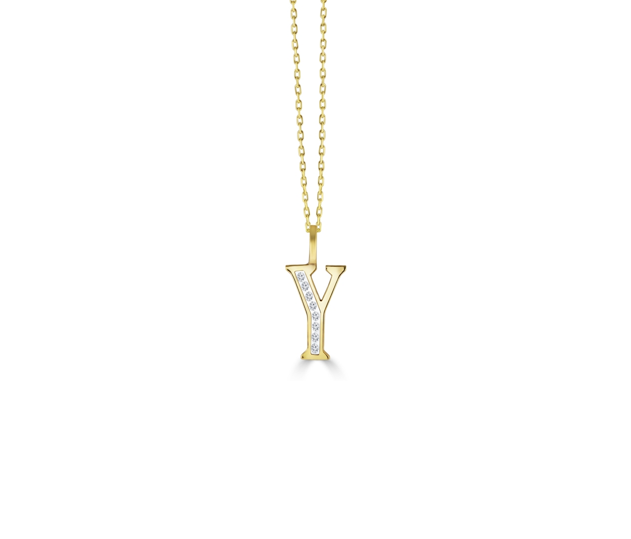 Y' Alphabet Pendant chain with Diamonds