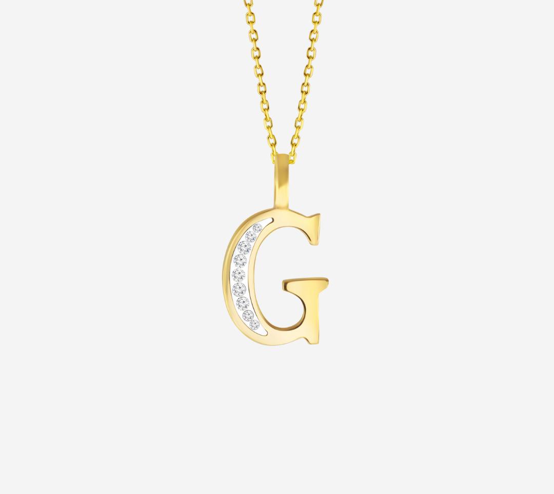G' Alphabet Pendant chain with Diamonds