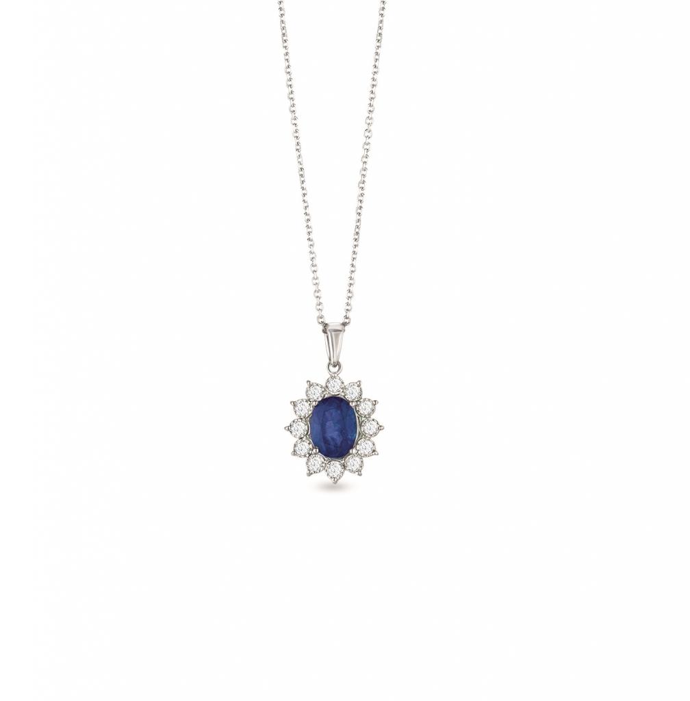 Classic Diana Blue Sapphire Pendant Chain