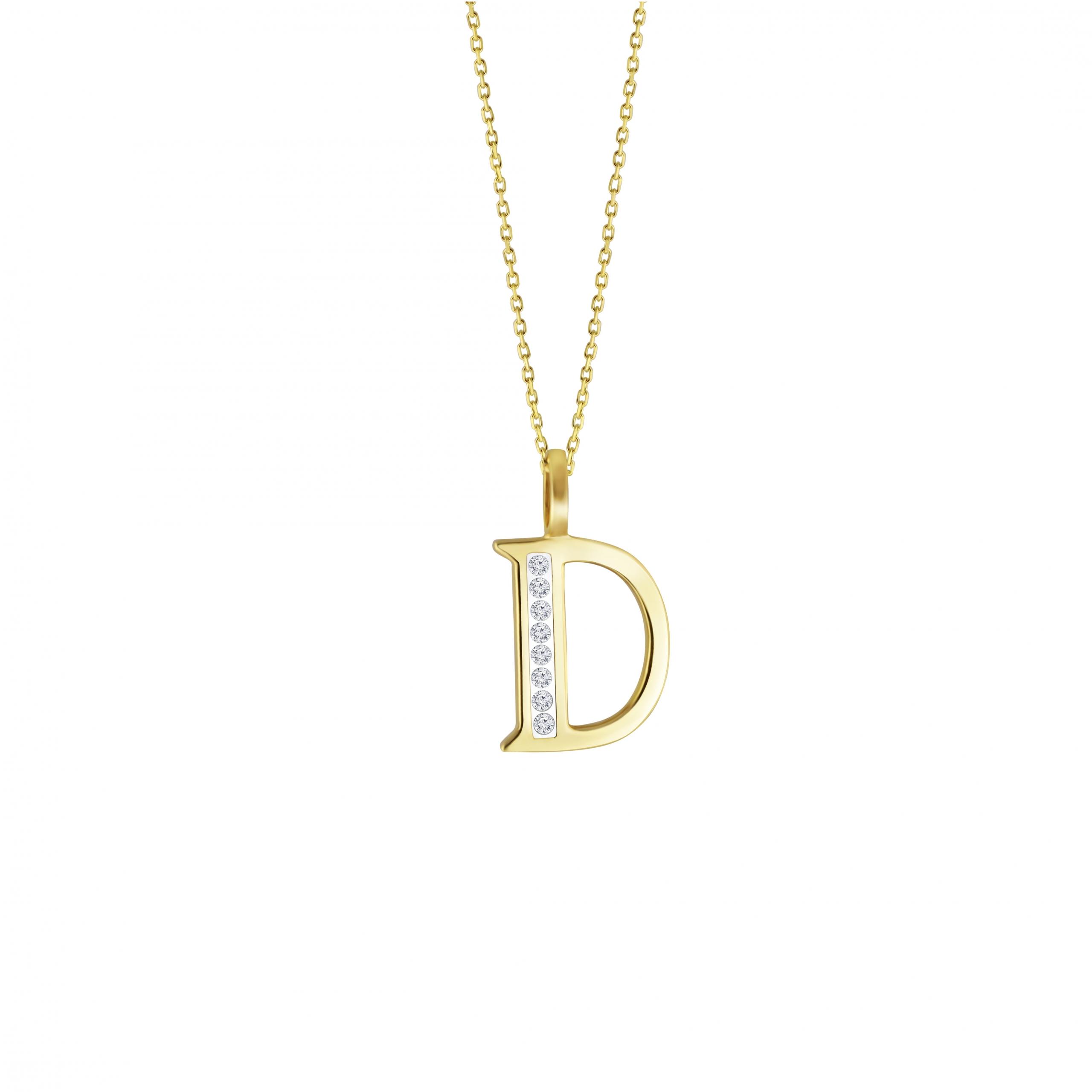 D' Alphabet Pendant chain with Diamonds
