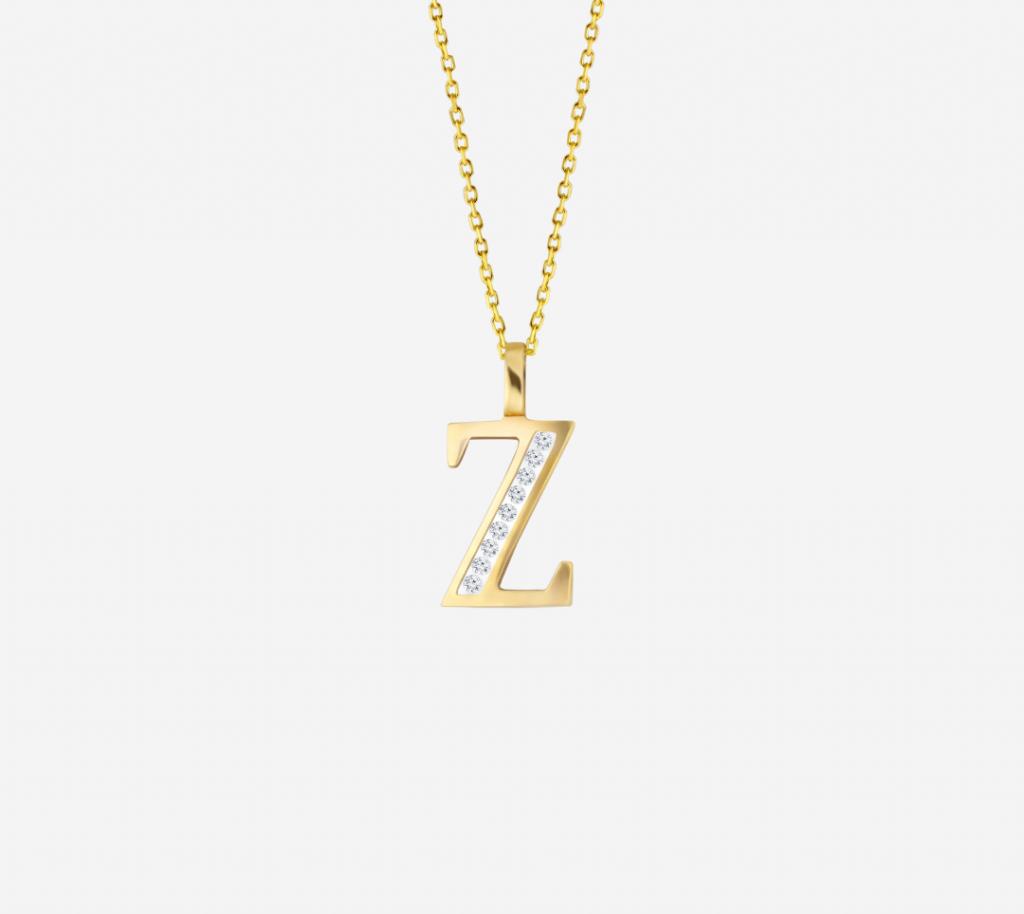 Z' Alphabet Pendant chain with Diamonds
