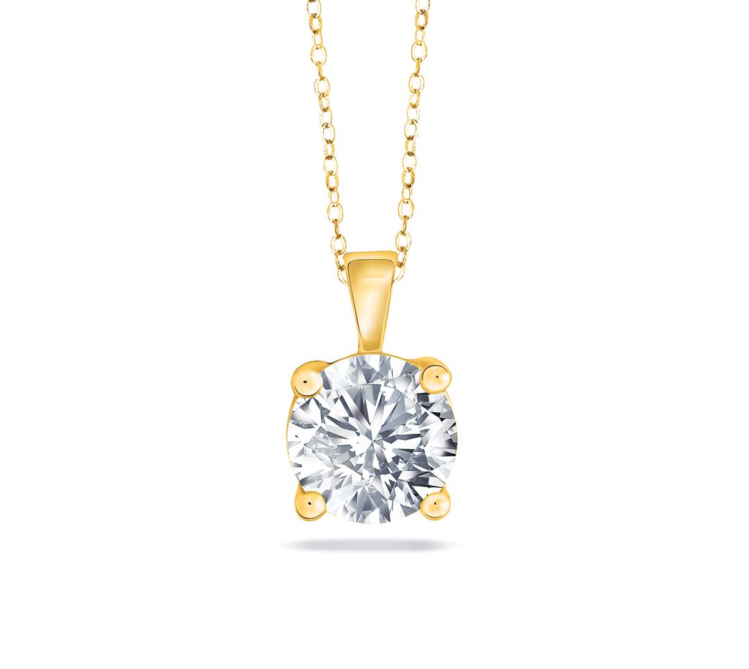Diamond Solitaire Pendant Chain YG
