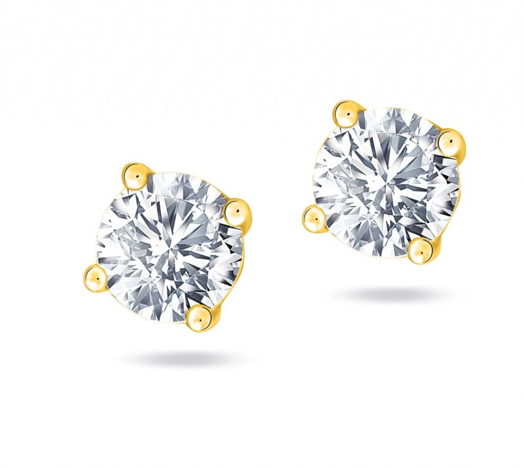 Diamond Solitaire Earring  YG