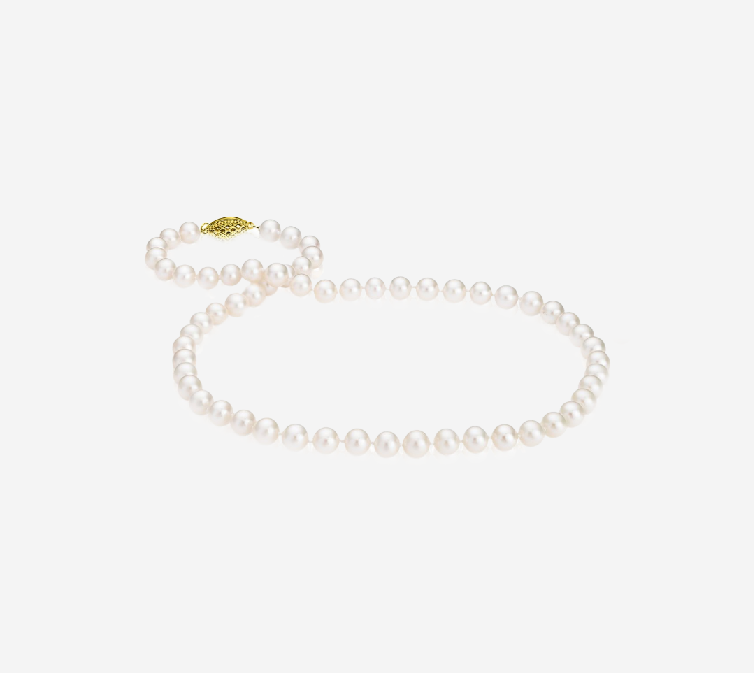 Basic Pearl Strand Necklace -6mm