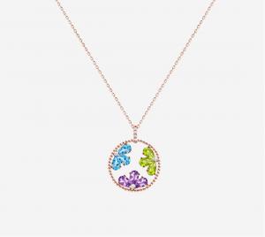 Multi Colour Semiprecious stone Pendant Chain in Rose Gold